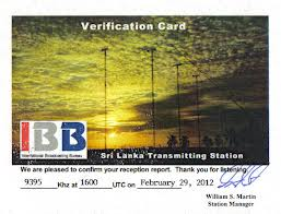 Radio Sri Lanka Reception Card