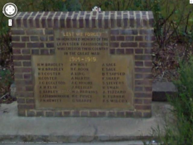 Leavesden Green memorial