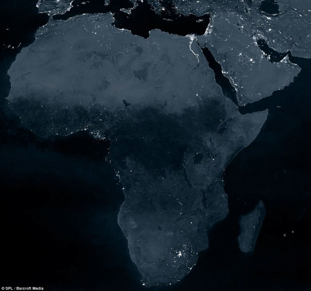 Africa at night from space.
