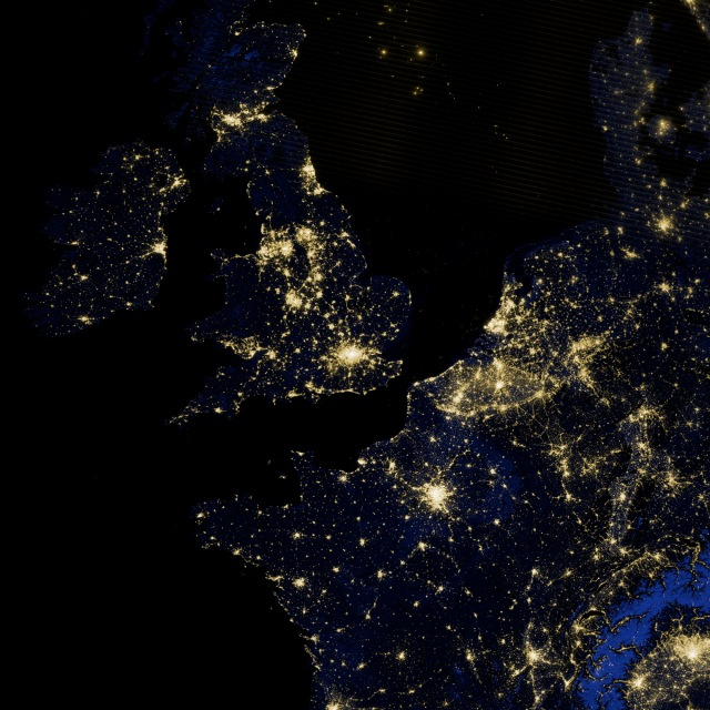 NW Europe at night from Space