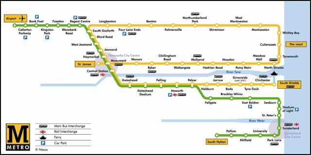 Newcastle metro map