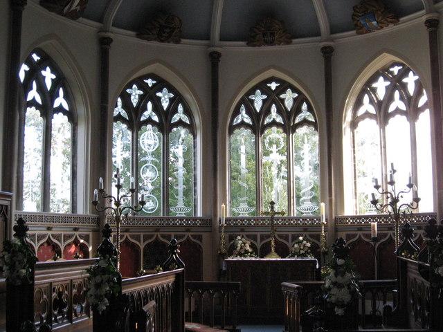 Engraved windows in St Nicholas Church