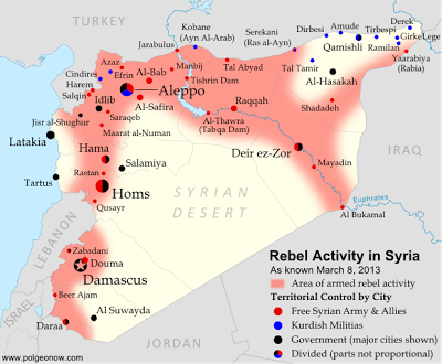 Map of Syria Uprising