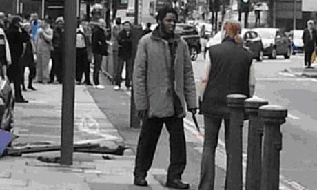 Confronting a Knife Wielding, gun toting terrorist