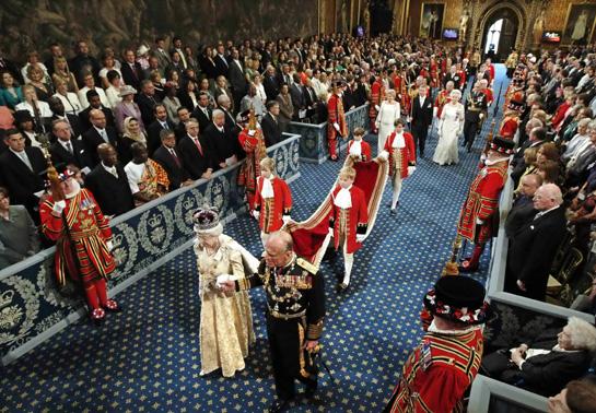 HM The Queen enters Parliament
