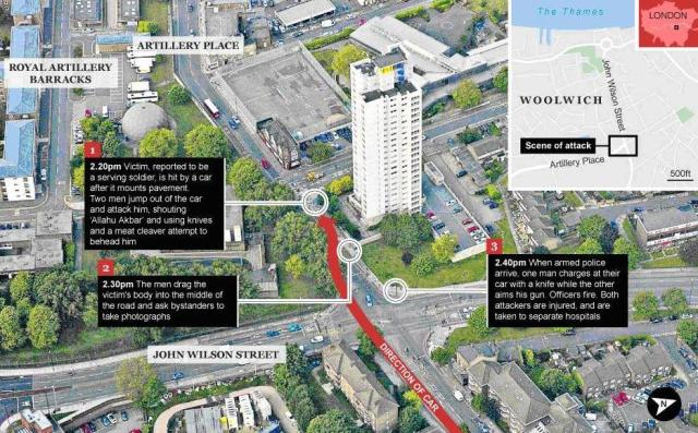Woolwich Terrorism Map