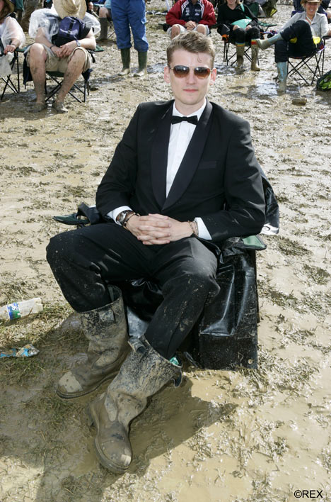 Glastonbury Suits in mud