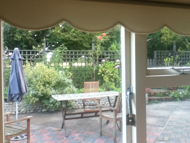 Our cottage is surrounded by a beautiful big garden and then farmland beyond.  Here is the view from the kitchen
