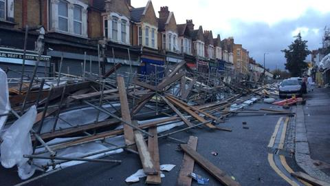 Scaffolding blown over in London