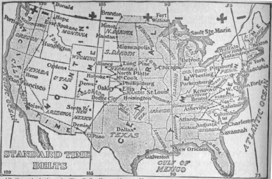 Time zones of the USA 1913