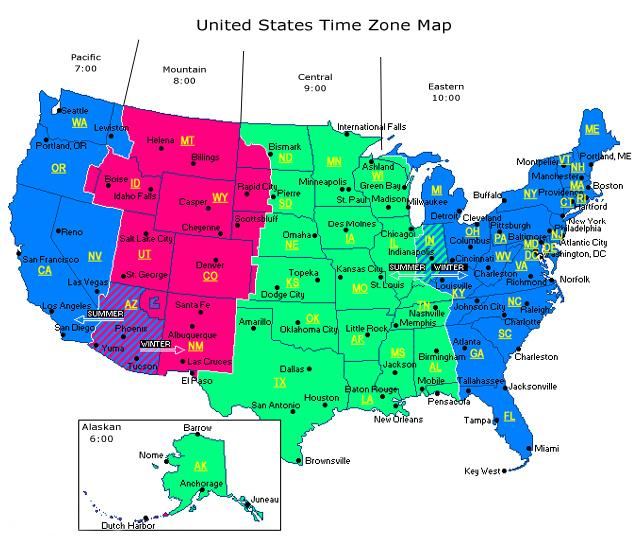 timezones USA