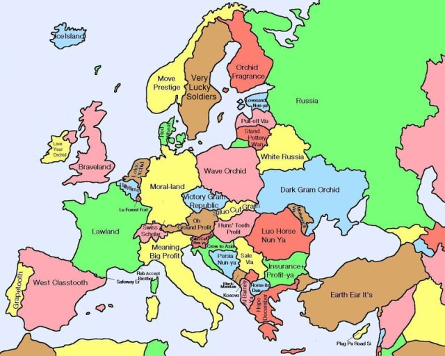 Literal Chinese translations for European countries.