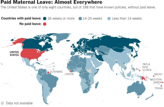 Paid Maternal Leave By Country