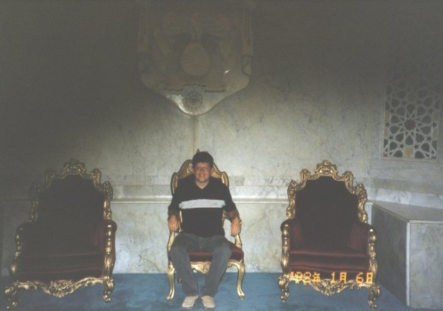 Sat on the throne of the King of Jordan