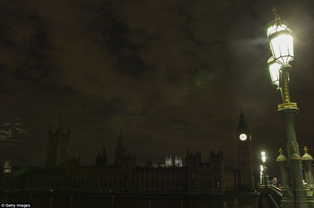 Houses of Parliament with lights off.