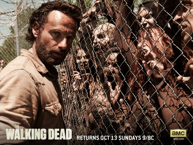A wire prison perimeter fence is all that keeps Rick and friends 'safe'.