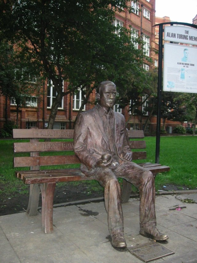 Statue if Alan Turing on a park bench in Manchester.