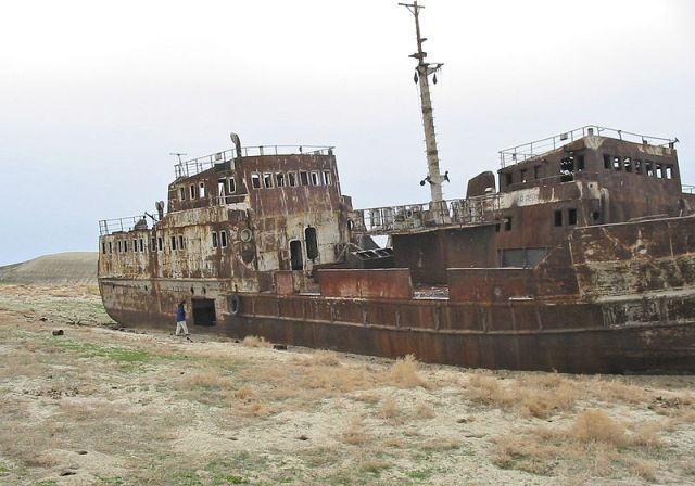60 miles from the coast lies this large rusting ship.