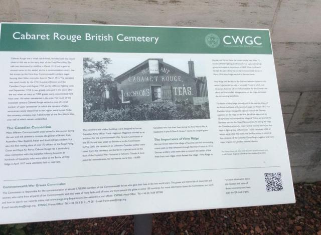 Information board for the cemetery.