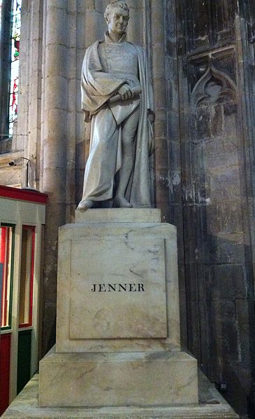 Memorial to Edward Jenner in Gloucester Cathedral.  Photo by Andrew Rabbott.