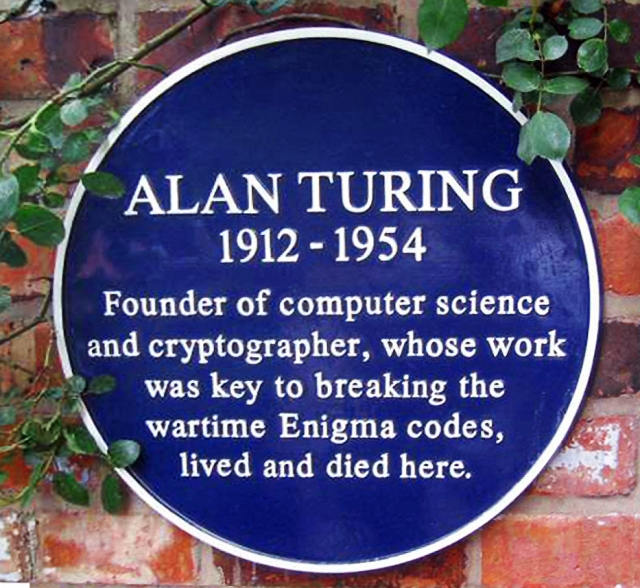 Plaque on the wall of the house that Alan Turing lived in at Wilmslow, Cheshire.