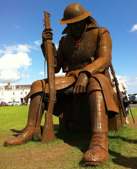 New statue of a Tommy at Seaham (photo from BBC)