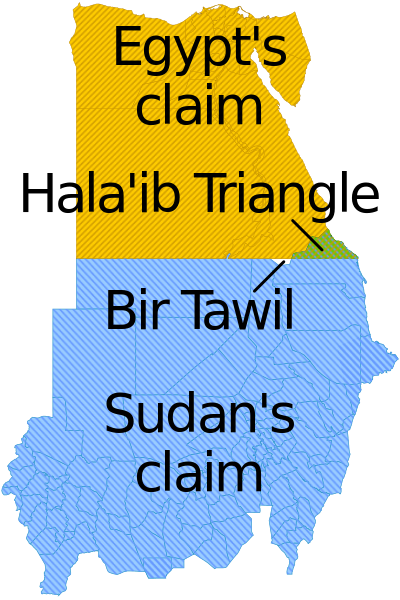 Hala'ib Triangle claimed by both nations, Bir Tawil claimed by neither.
