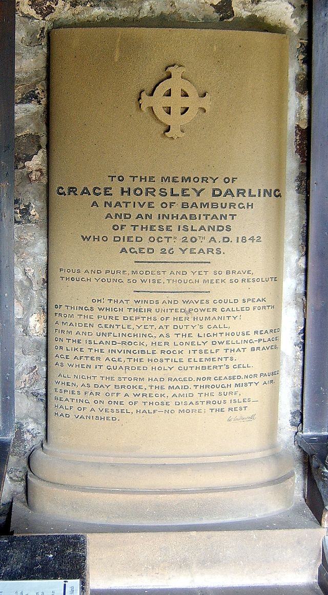 Grace Darling memorial in St Cuthberts Chapel on the Farne Islands