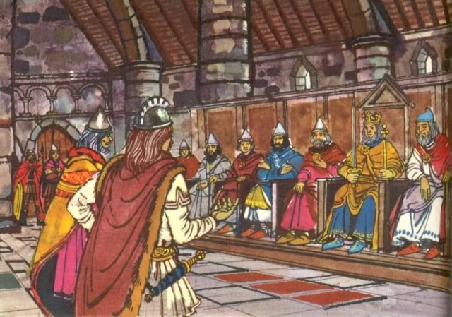 Foreign dignitaries appearing before an Anglo-Saxon King and the Witenagemot