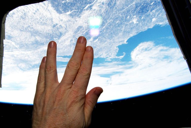 Astronaut from the International Space Station salutes Live Long and Prosper