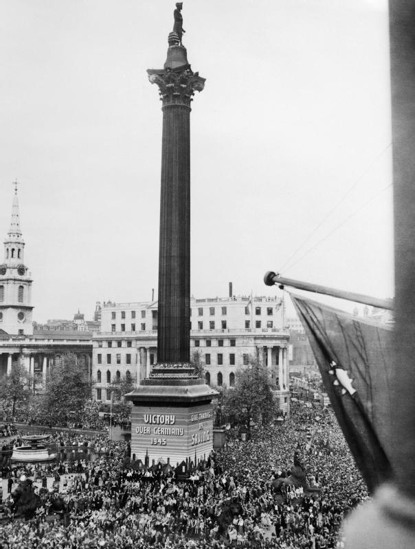 Crowds celebrate in Trafalgar Square