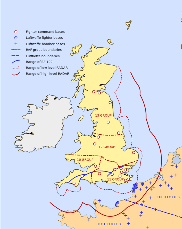 Map showing the radar coverage and RAF airfields during the Battle of Britain.