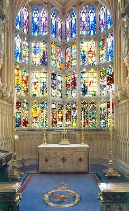 The Battle of Britain memorial window in the Royal Air Force chapel