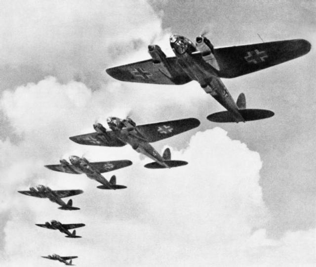 A squadron on Heinkel HE 111 flying over southern England during the Battle of Britain