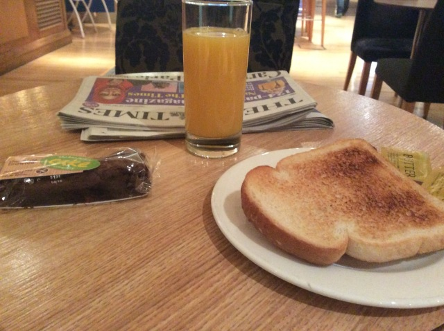 Breakfast at the BA lounge at Gatwick... how civilised.