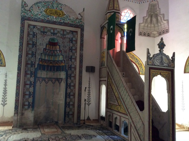 Inside the ornately decorated 17th cebtury mosque
