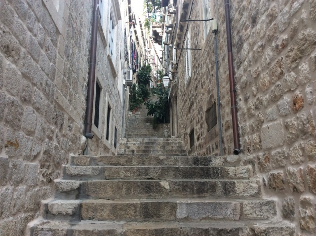 Steep steps in Dubrovnik. They are everywhere and are a  natural barrier to keep most tourists away.