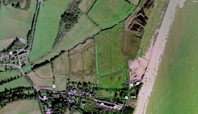 View of Dunwich and old markings from space.