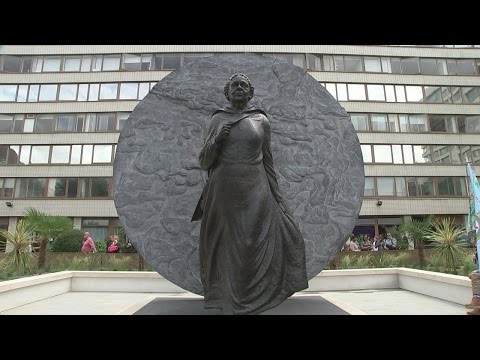 The new statue for Mary Seacole in the grounds of St. Thomas' Hospital on the banks of the River Thames.