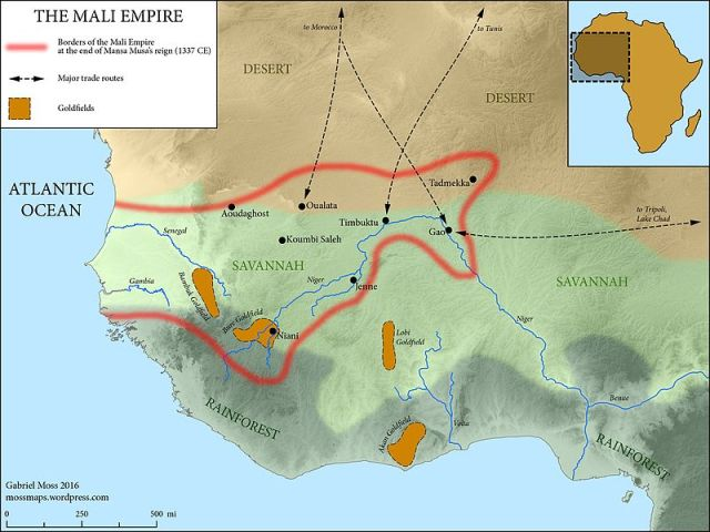 The Mali Empire - Map by Gabriel Moss