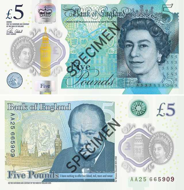 Sir Winston Churchill features on the new Polymer £5 note.