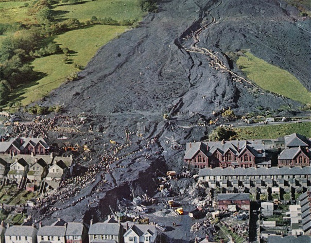 The spoil from Aberfan coal mine swamped the village