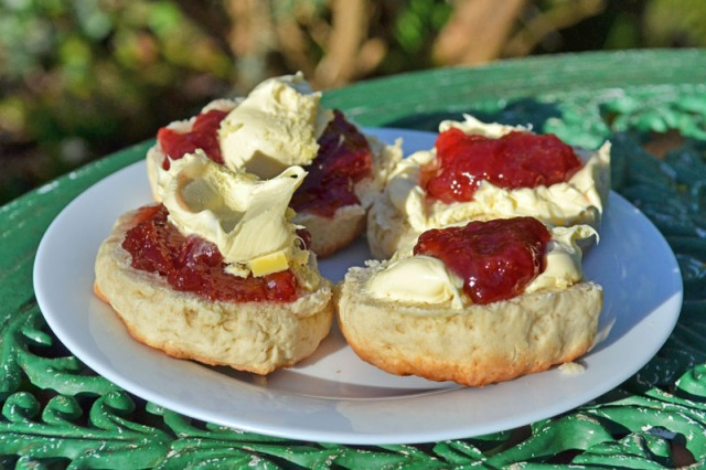 Two of these scones are in the Cornish style and two are from Devonshire. As the blog where this photo comes from http://www.toadhallcottages.co.uk/blog/the-cream-tea-debate-devon-vs-cornwall/ states, two of these scones are correct and two are just wrong apparently err obviously.