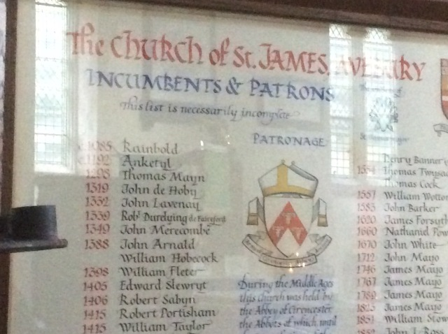 There's been a church at Avebury much earlier but this embroidery merely lists those from the 1066 Norman invasion
