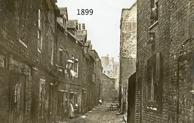 A typical Victorian slum street.