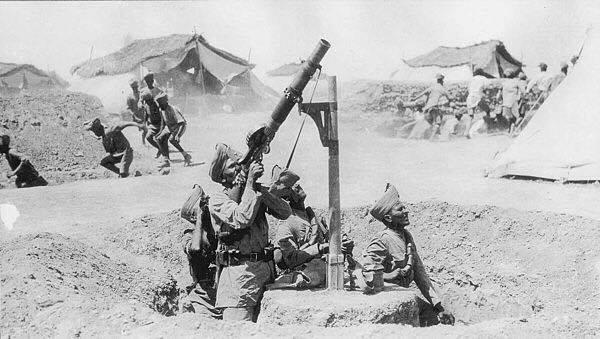 British-Indian soldiers firing machine guns at Ottoman Aircraft in WW1 Iraq