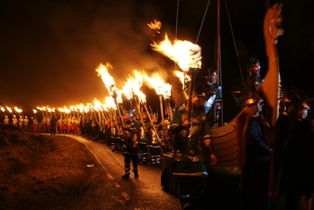The procession of the ship and a Viking honour guard makes its way through the streets.  Photo by Mike Pennington of Geograph.co.uk