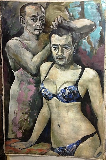 A painting protesting against the position of the LGBT community in Russia depicting Presidents Medvedev and Putin as lovers.