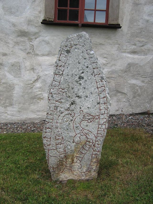 A Viking Rune Stone in Sweden commemorating the Danegeld that had been recently won in England. Photo by Berig.