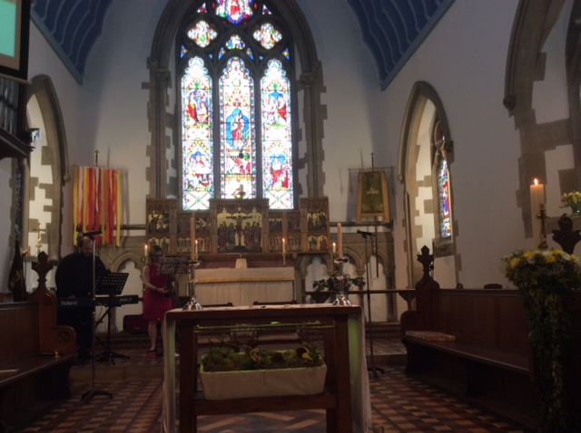 The Altar and Quire, the church choir sit on both sides and I've skilfully managed not to fit either side in very well.